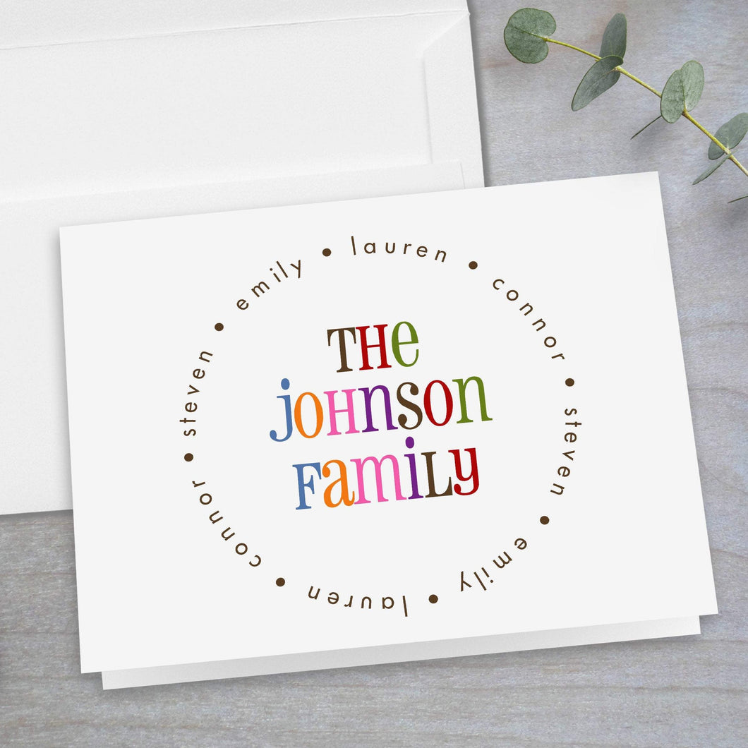 Colorful Family Name - Folded Note Card