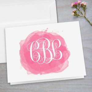 Watercolor Swatch Interlocking Monogram - Folded Note Card