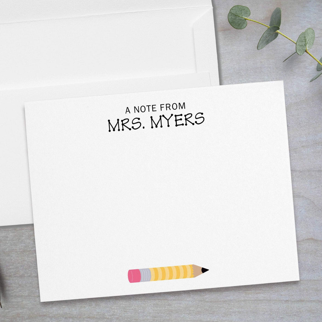 Yellow Pencil -  Flat Note Card
