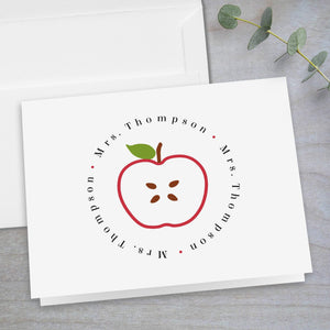 Red Apple Slice -  Folded Note Card