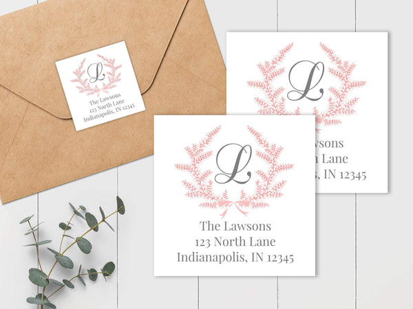 Wreath - Pink and Gray - Square Address Label