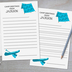 Canoe and Tent - Camp Stationery Sheets
