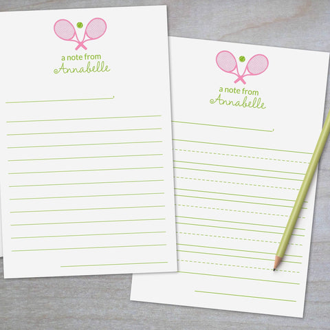 Tennis Racket and Ball - Lined Stationery Sheets