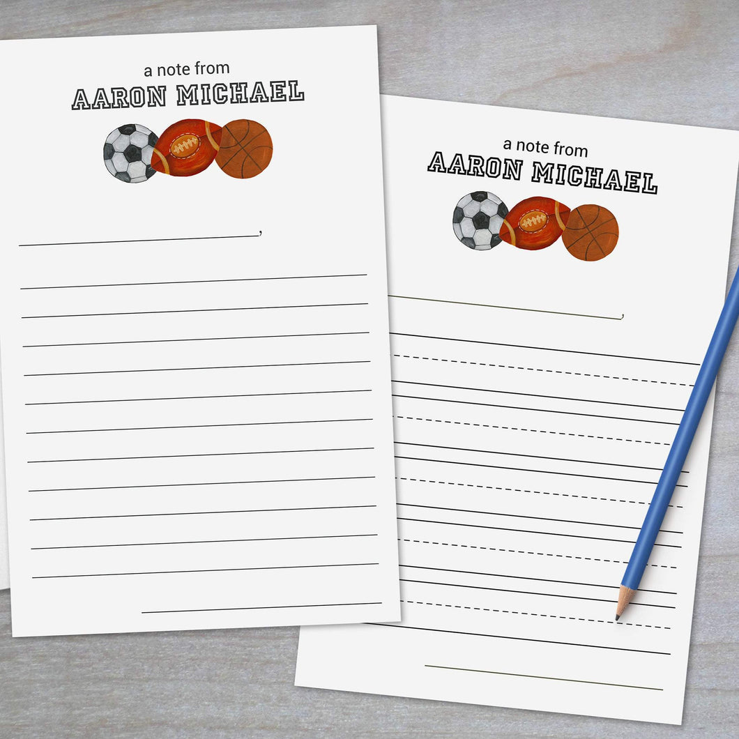 Sports Themed Stationery - Lined Stationery Sheets