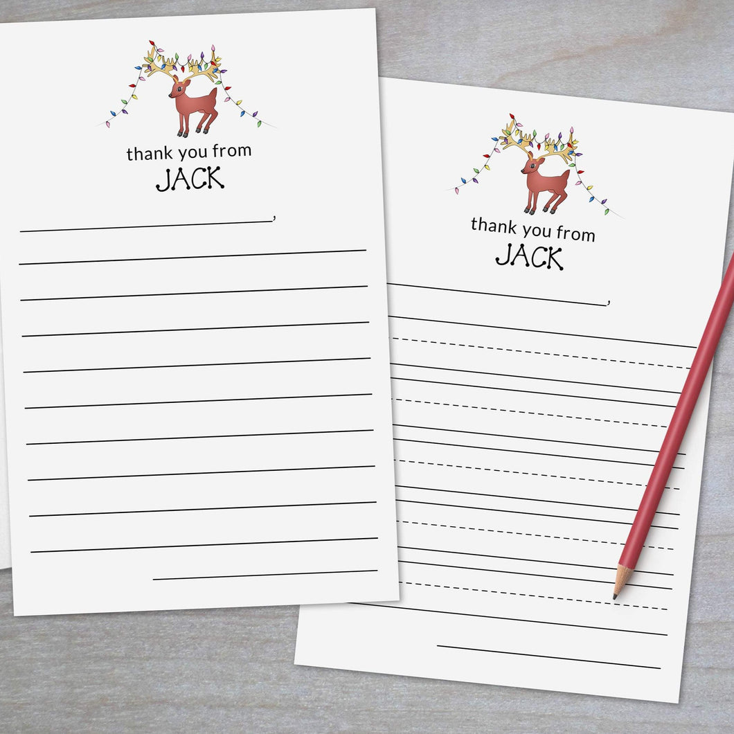 Holiday Reindeer - Lined Stationery Sheets