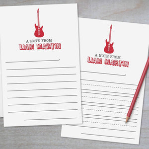 Rock Star Guitar - Lined Stationery Sheets
