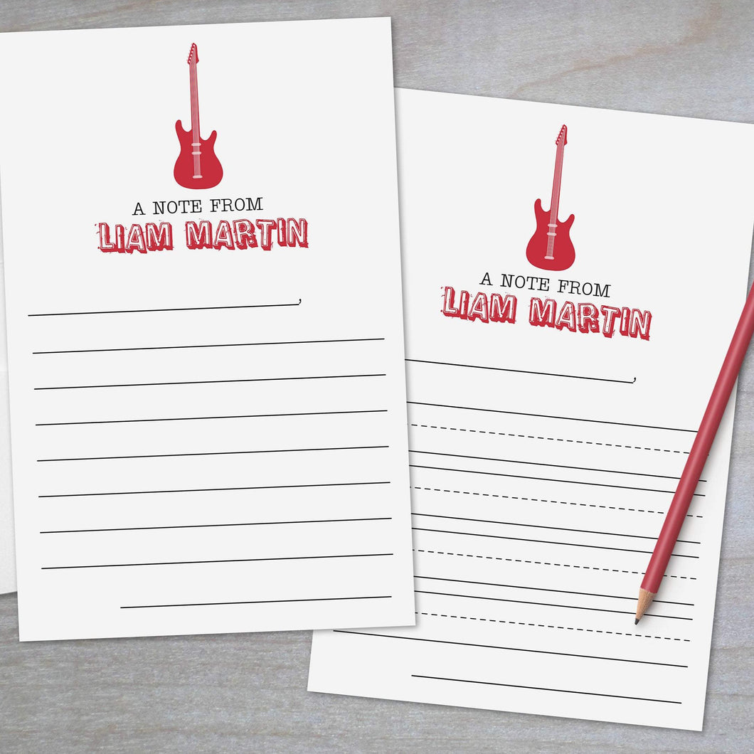 Rock Guitar - Lined Stationery Sheets