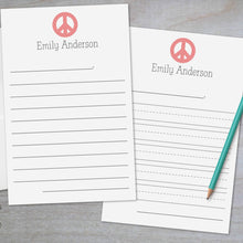 Load image into Gallery viewer, Peace Sign - Lined Stationery Sheets