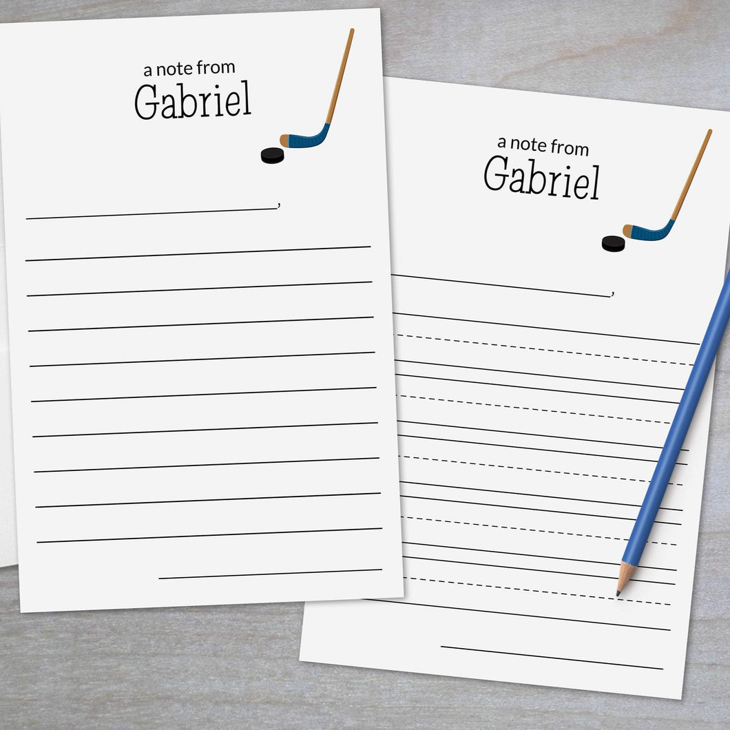 Hockey Blue - Lined Stationery Sheets