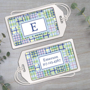 Madras Plaid - Blue and Green - Clear Acrylic Luggage Tag