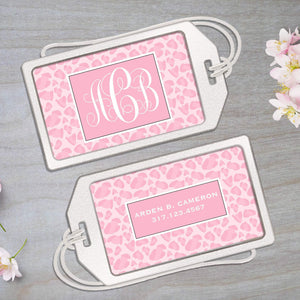 Pink Animal Print - Clear Acrylic Luggage Tag