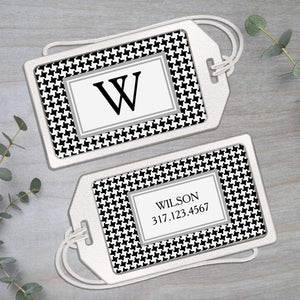 Houndstooth - Clear Acrylic Luggage Tag