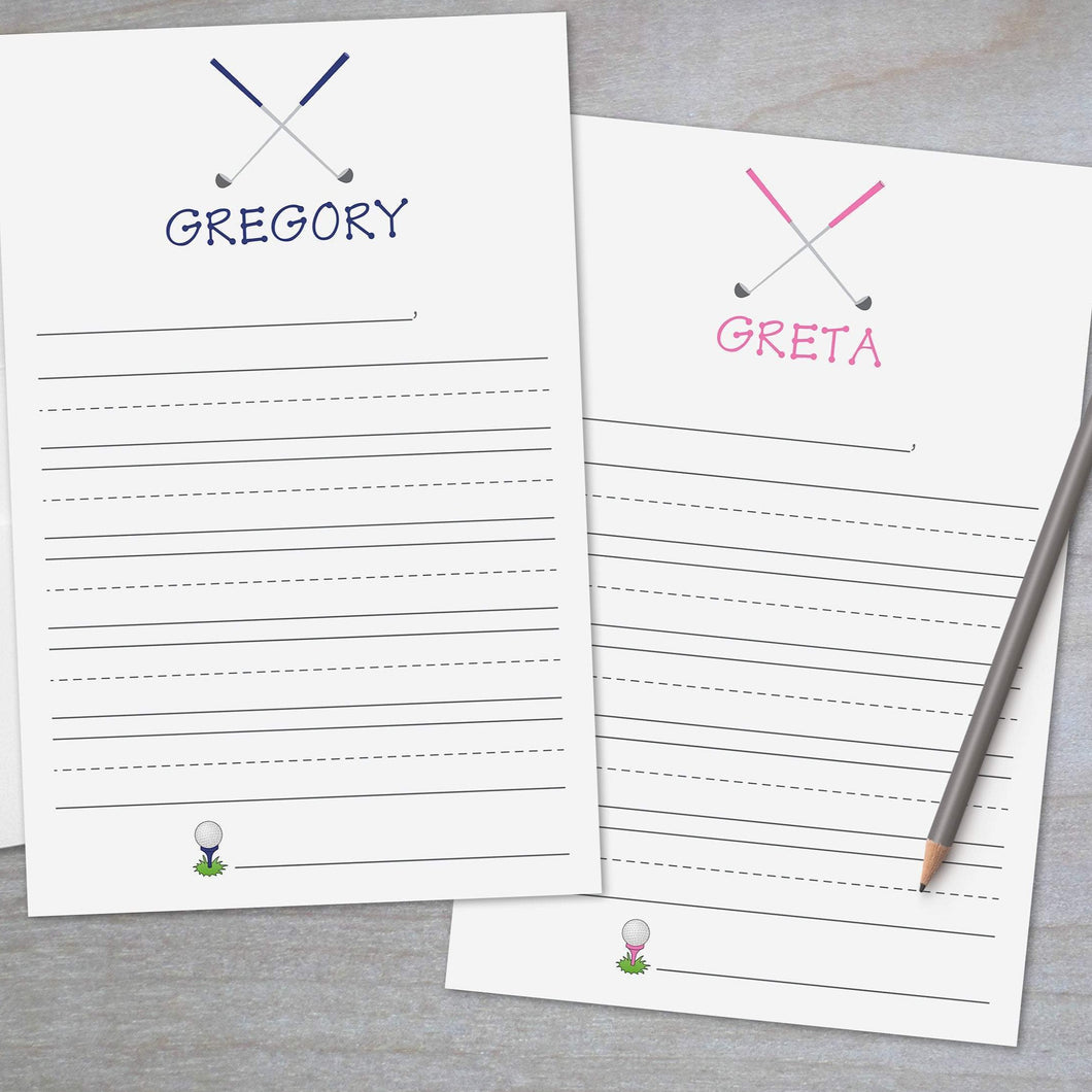 golf clubs lined primary lined stationery for kids
