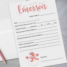Load image into Gallery viewer, pink snowman fill in the blank stationery for kids
