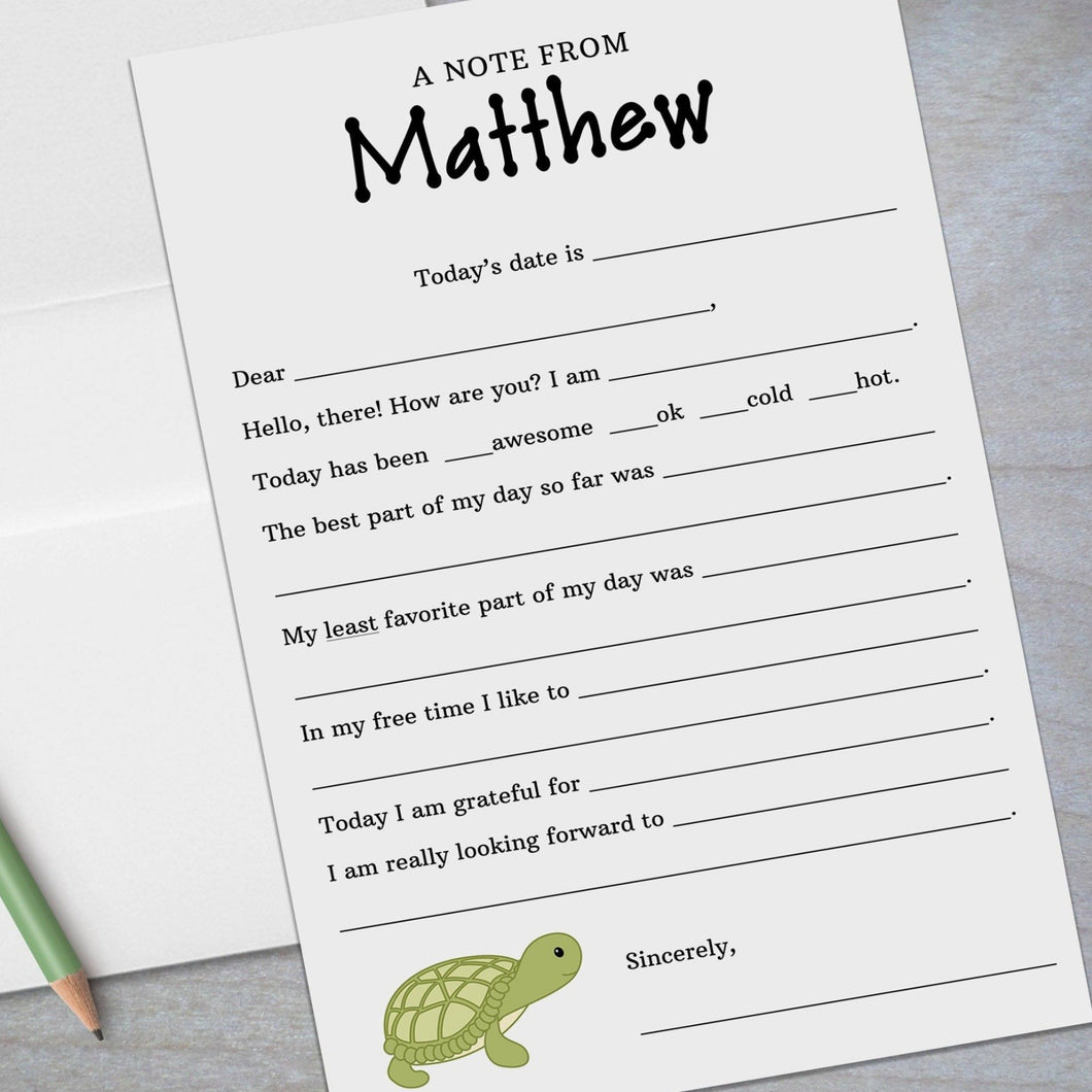 turtle fill in the blank stationery for kids