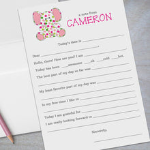 Load image into Gallery viewer, pink and green polka dotted baby elephant fill in the blank stationery for kids