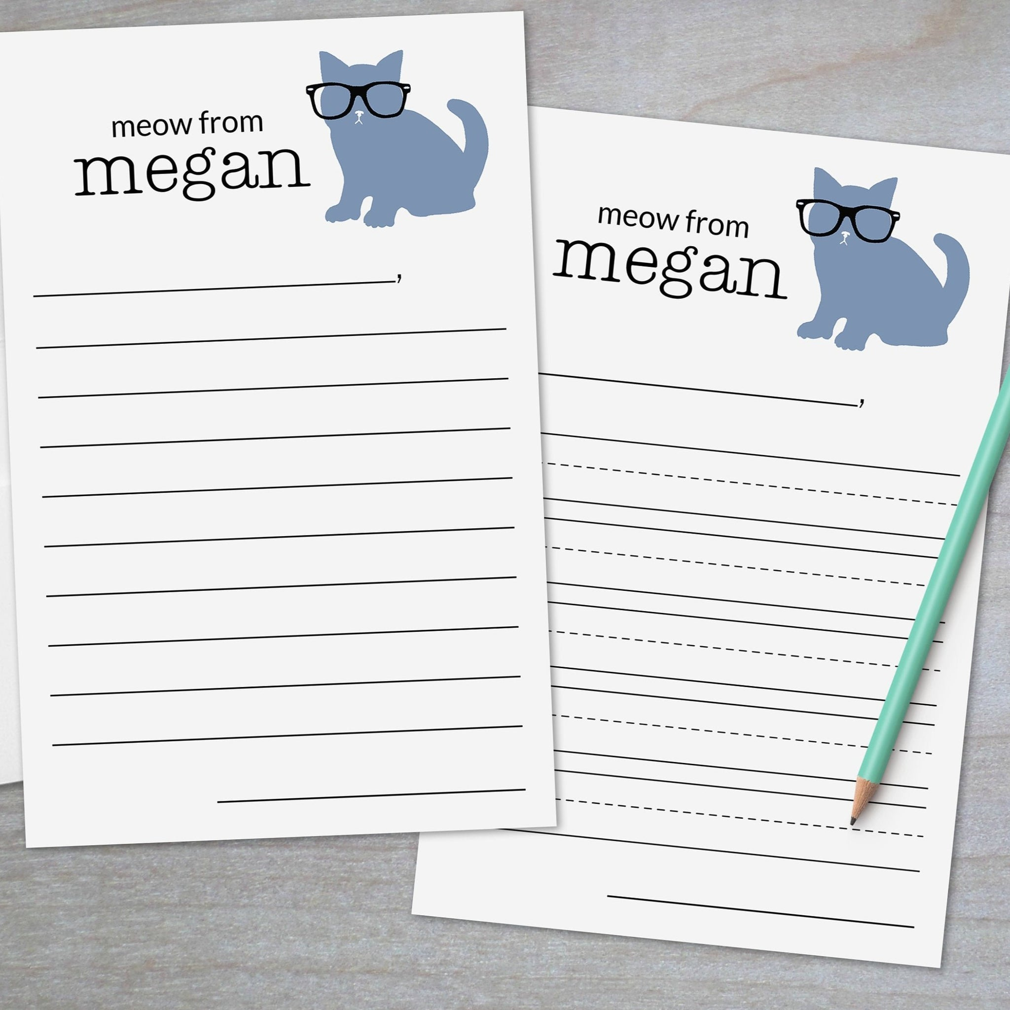 kitty wearing glasses lined stationery for kids
