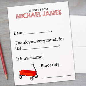 Red Wagon - Fill-in Flat Note Card