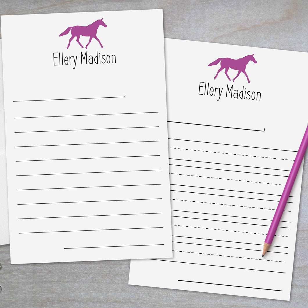 Horse - Lined Stationery Sheets