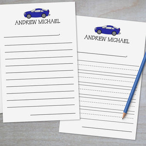 Blue Sports Car - Lined Stationery Sheets