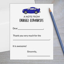 Load image into Gallery viewer, blue sports car fill in flat note stationery for kids