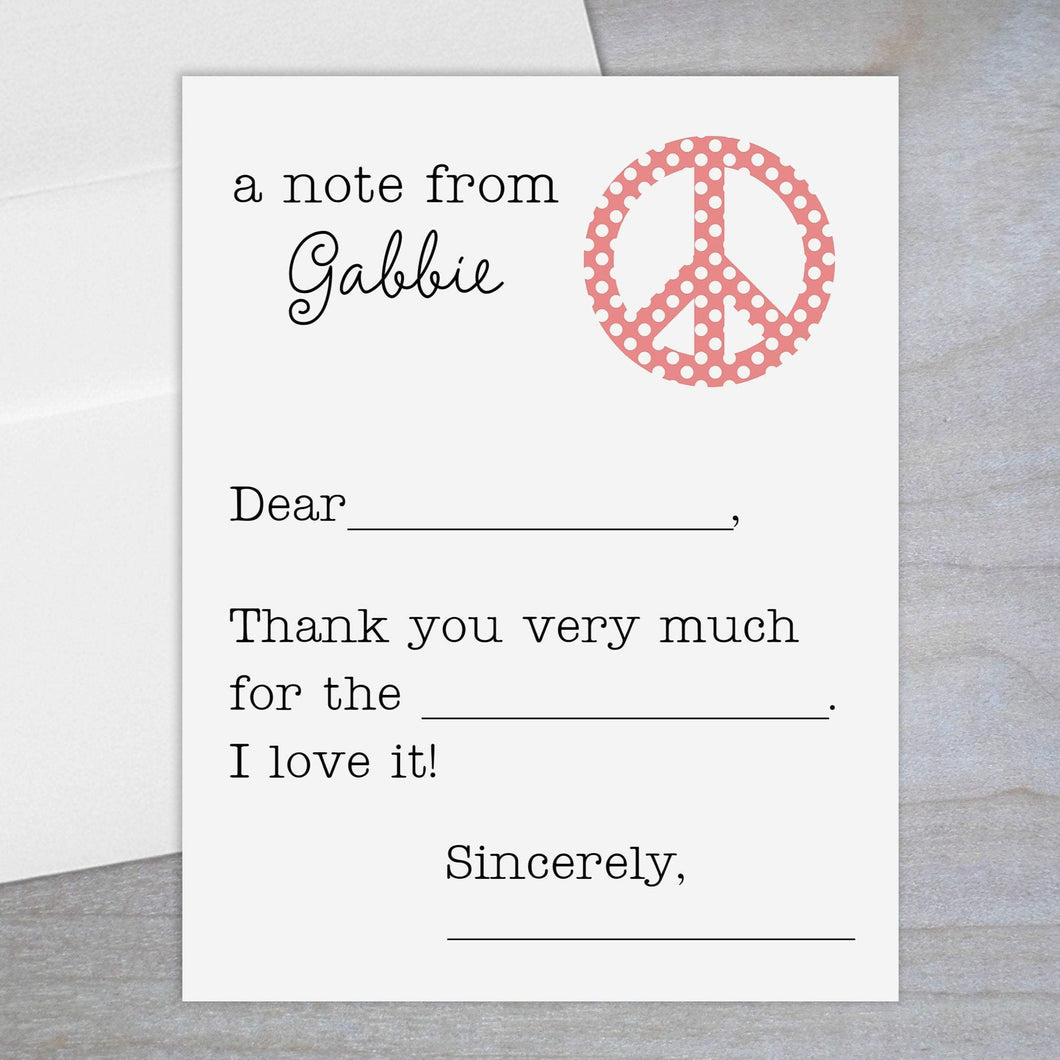 Polka Dotted Peace Sign - Fill-in Flat Note Card