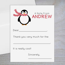 Load image into Gallery viewer, Red Holiday Penguin - Fill-in Flat Note Card