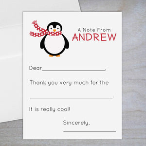 Red Holiday Penguin - Fill-in Flat Note Card
