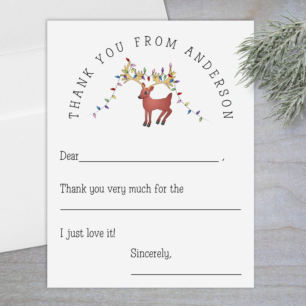 Holiday Reindeer - Fill-in Flat Note Card