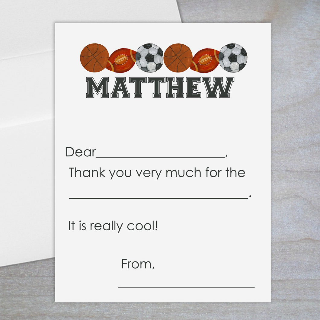 Sports - Fill-in Flat Note Card