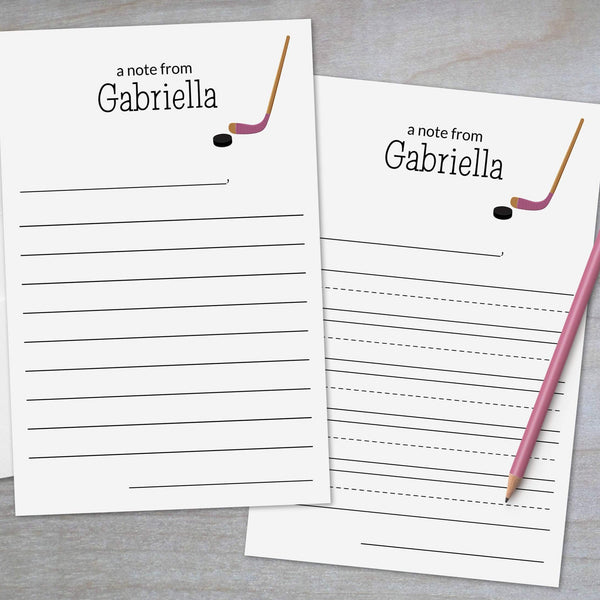 Hockey Pink - Lined Stationery Sheets