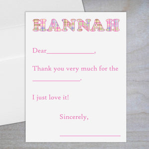Madras Plaid Pink - Fill-in Flat Note Card