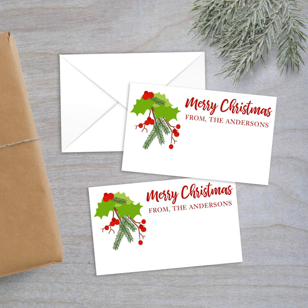 Christmas holly enclosure card