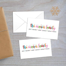 Load image into Gallery viewer, colorful snowflake name enclosure card
