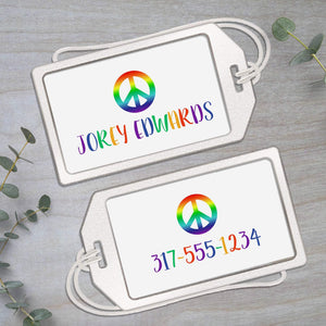 Rainbow Peace Sign - Clear Acrylic Luggage Tag