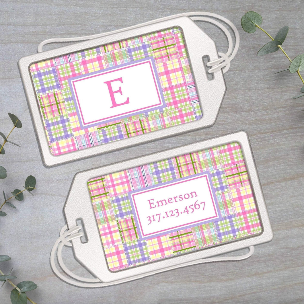 Madras Plaid - Pink and Purple - Clear Acrylic Luggage Tag