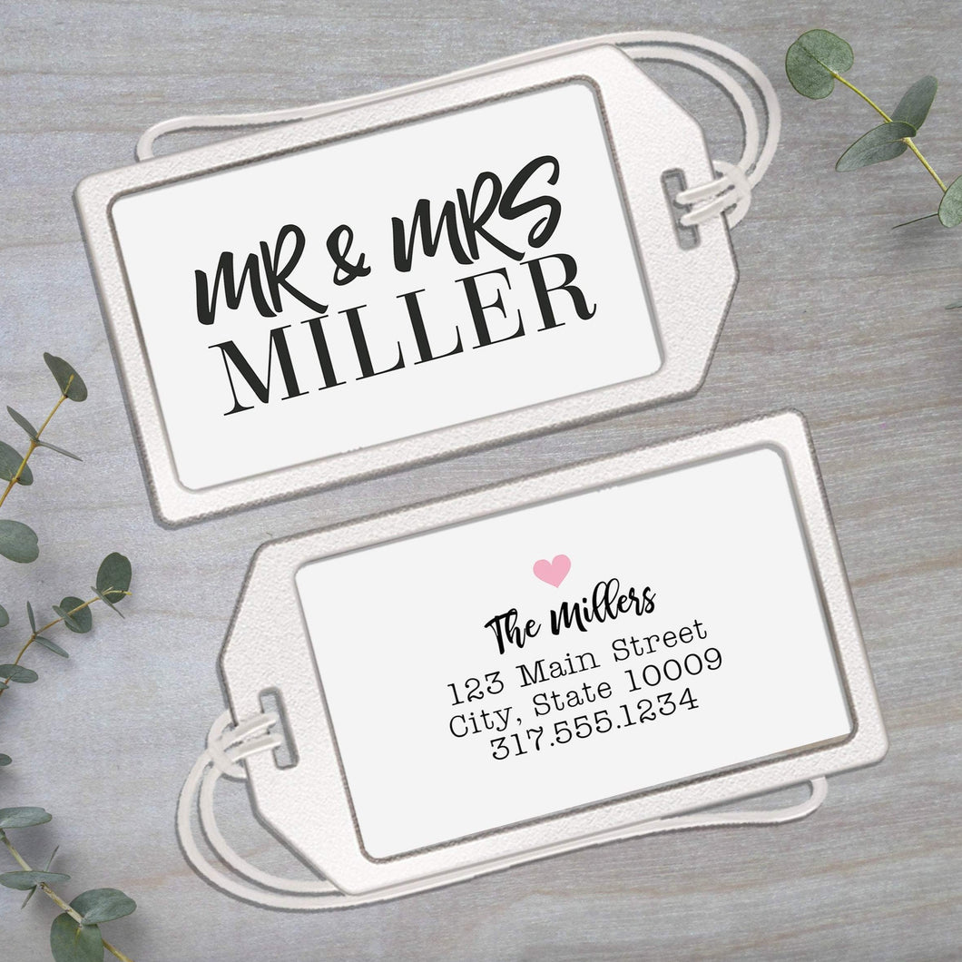 Newlyweds Clear Acrylic Luggage Tag with Loop - Personalized ID Tag