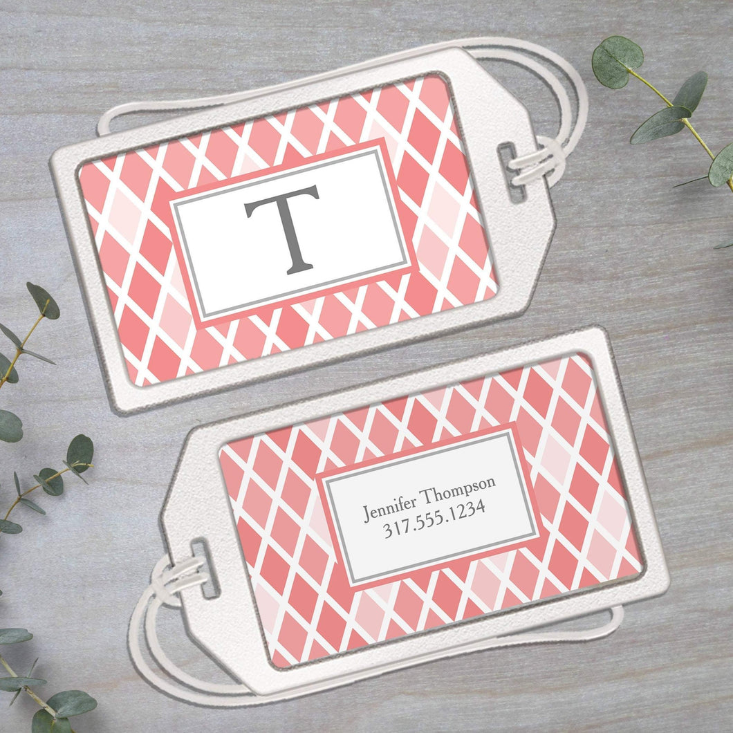 Modern Argyle - Clear Acrylic Luggage Tag