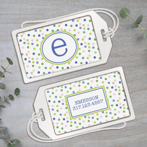 Scattered Polka Dots - Clear Acrylic Luggage Tag