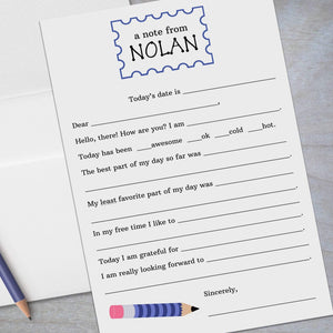 blue striped pencil fill in stationery for kids