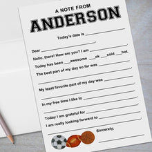 Load image into Gallery viewer, soccer football basketball fill in the blank stationery for kids