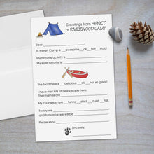 Load image into Gallery viewer, Canoe and Bear Paw - Fill-in Camp Stationery