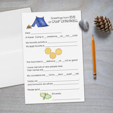 Load image into Gallery viewer, Peace and Dragonfly Camp Fill In Stationery for kids