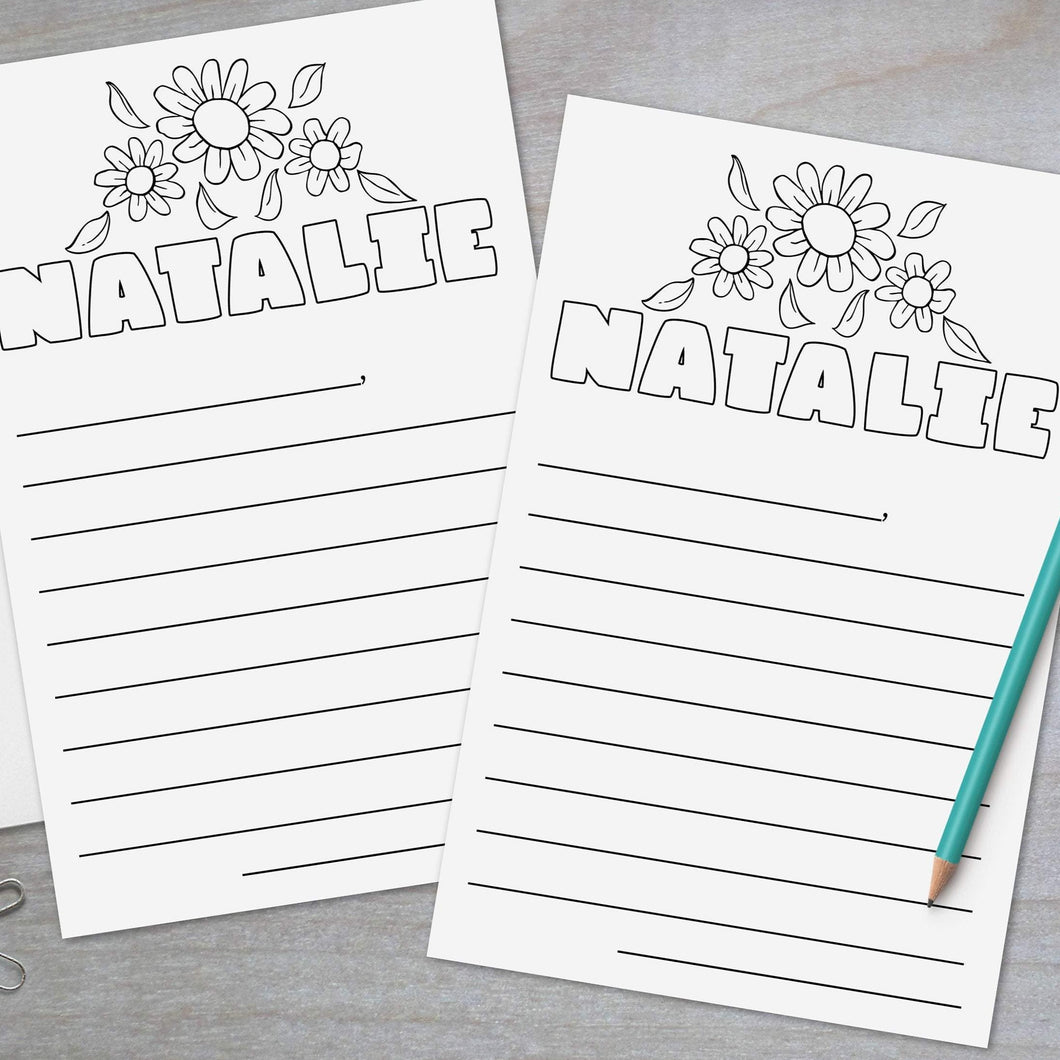 Flowers -  Coloring Page Lined Stationery Sheets