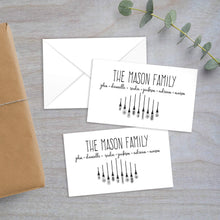 Load image into Gallery viewer, vintage lights with family names enclosure card