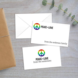 rainbow peace sign enclosure card