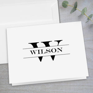 Split Monogram - Folded Note Card