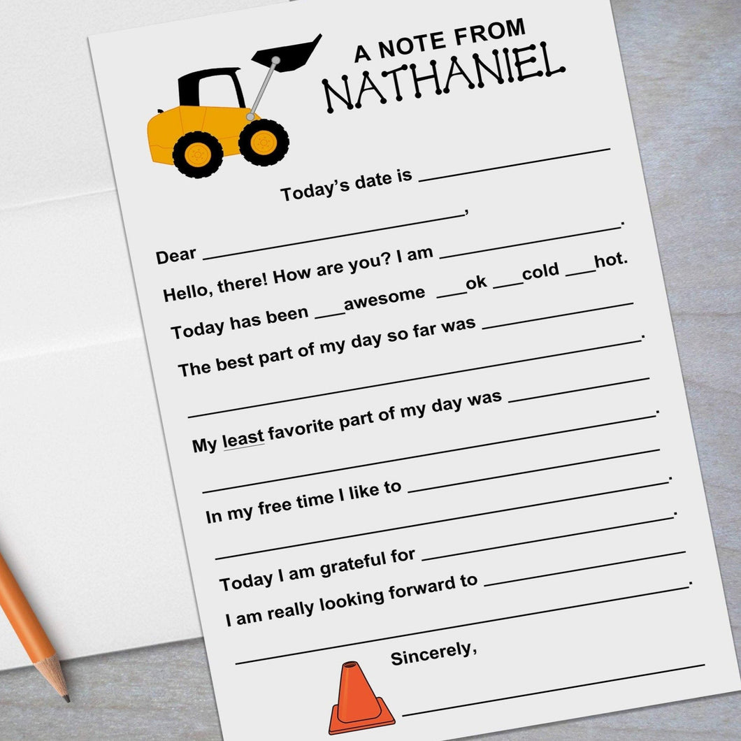 construction backhoe fill in stationery for kids