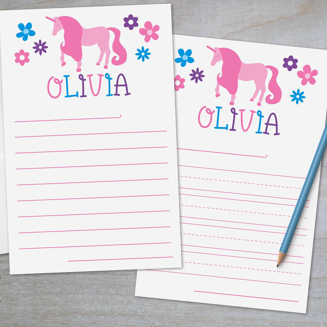 pink unicorn and flowers lined stationery for kids