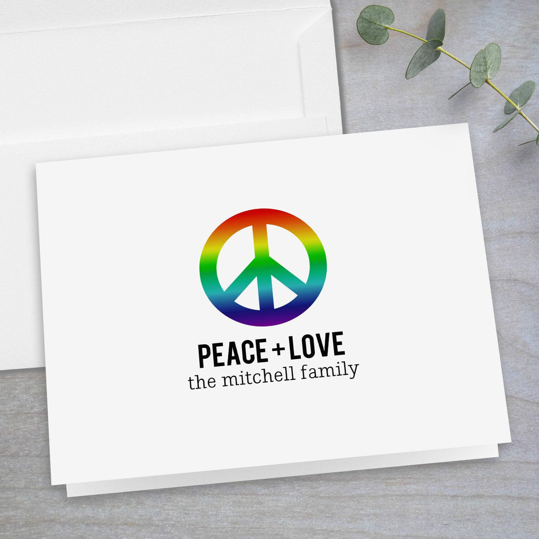 Rainbow Peace Sign - Folded Note Card